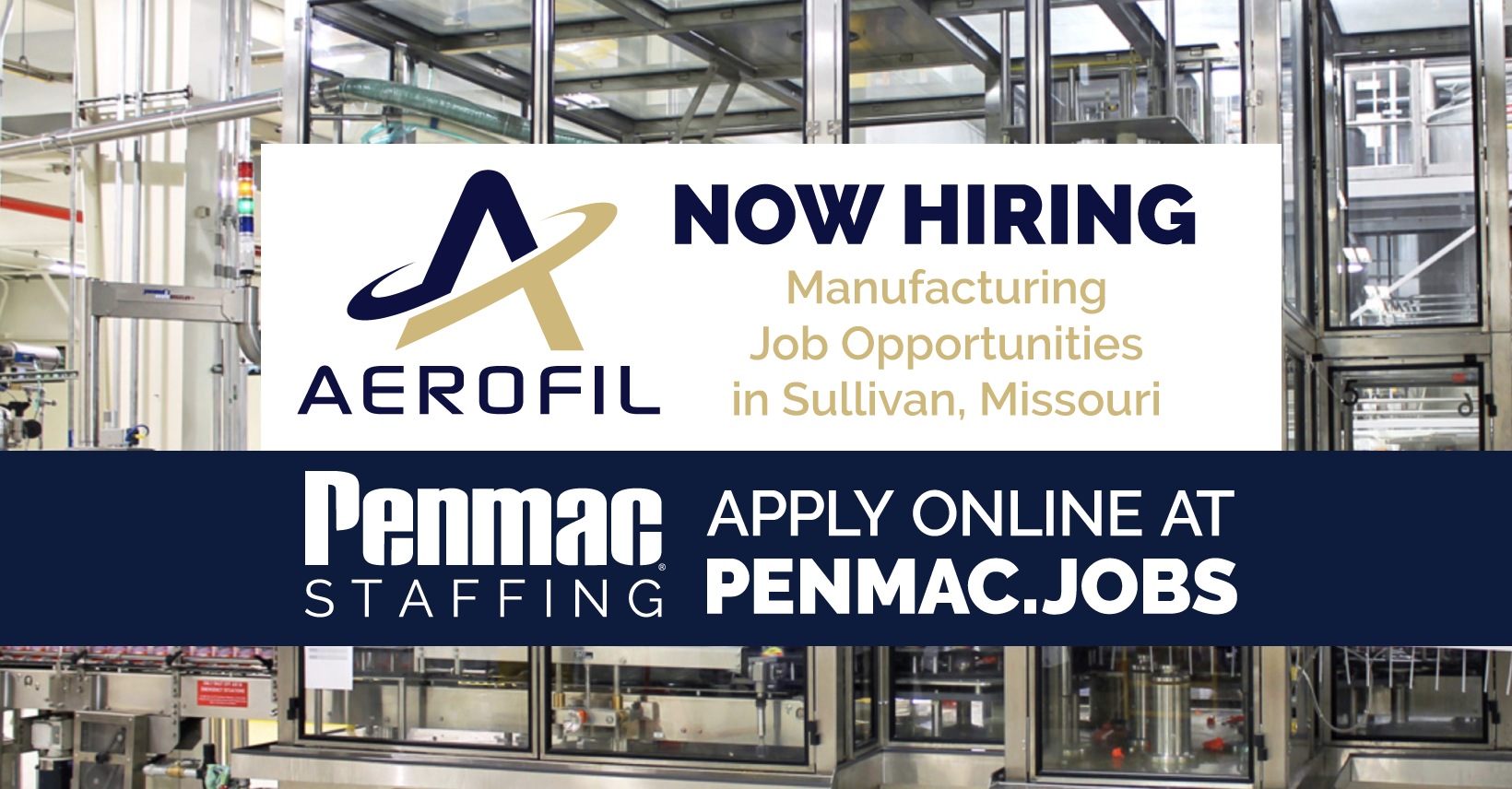 Aerofil and Penmac Staffing Hiring to Fill More Than 50 Jobs in Sullivan, Missouri